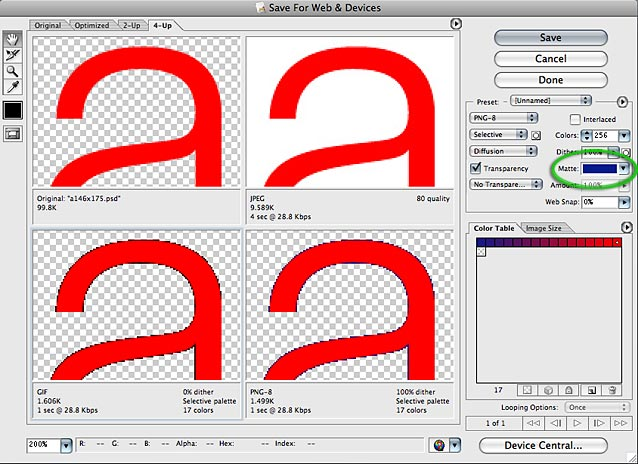 Photoshop Save for Web dialog