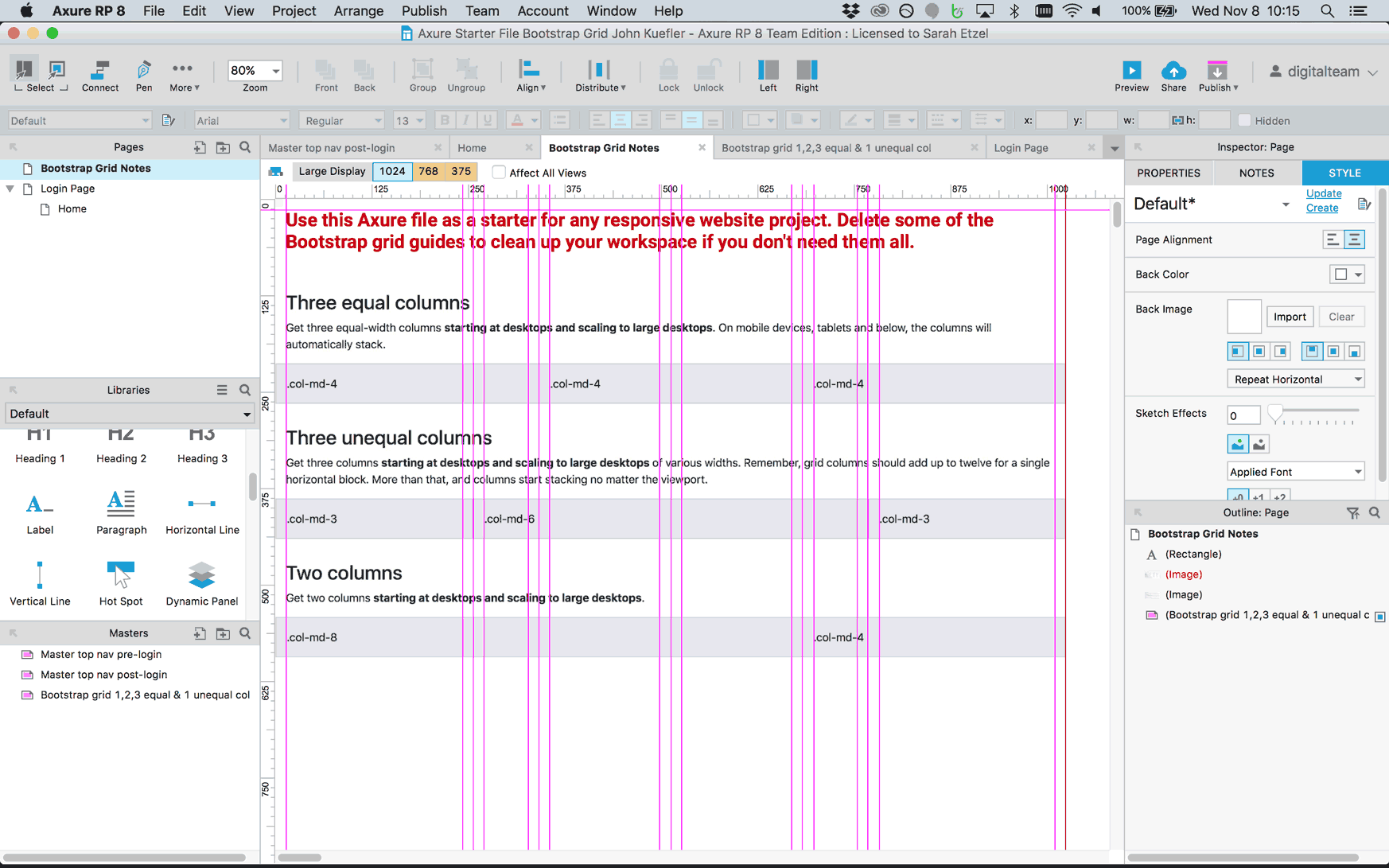 how to add grid in axure