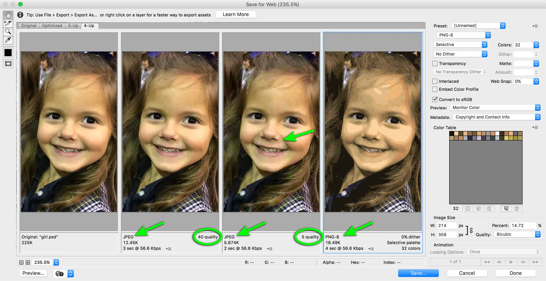 Photoshop Save For Web image size comparisons